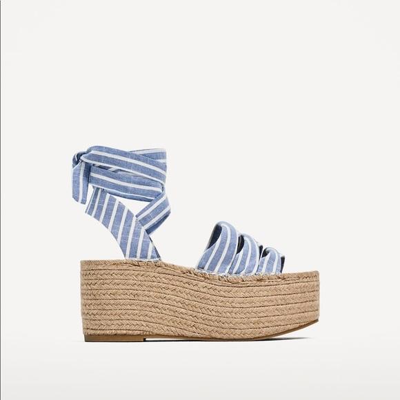 eba711bdca2 ZARA - tie up jute platform sandals. M 5ad6560145b30cb820804d61